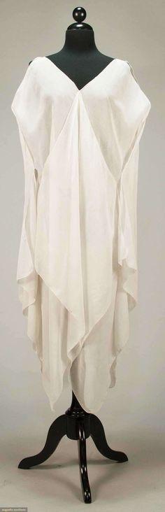 Dress (image 1) | Attributed to Madeleine Vionnet | France; Paris | 1920 | pique edged cotton voile | Augusta Auctions | April 20, 2016/lot 247