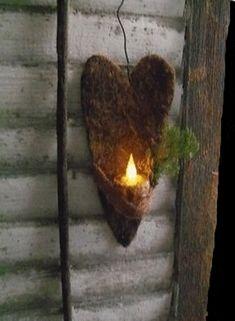 Primitive Heart...with a flicker light...Prim Cupboard.