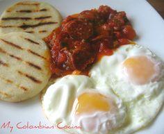 Huevos Rancheros or Rancheros Eggs Huevos Rancheros, Colombian Breakfast, Colombian Food, Island Food, Appetisers, Recipe Of The Day, Mexican Food Recipes, Brunch, Yummy Food