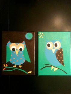 Acrylic owls on canvas