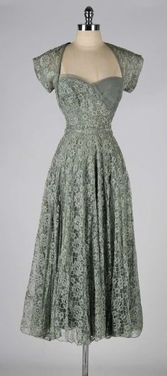 Vintage 1940's Sage Green Lace Cocktail Dress | From a collection of rare vintage evening dresses at http://www.1stdibs.com/fashion/clothing/evening-dresses/