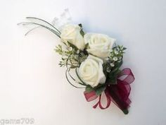 WEDDING FLOWERS - LADIES ROSE CORSAGE IN IVORY AND BURGUNDY