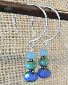 Caribbean Blues, Triple Stacked Faceted Czech Glass Drop Earrings on Round Sterling Ear wires Summer Jewelry Gift by CMEjewelry on Etsy