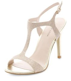 Gold Bridal T-Bar Heels