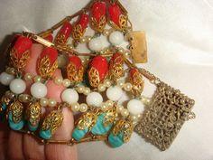 A stunning wide impressive vintage Miriam Haskel BRACELET faux coral jade pearl  #Unbranded #cuffstrands