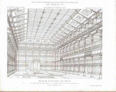 Interior Design of Paris National Museum of History 1883 Architecture Print