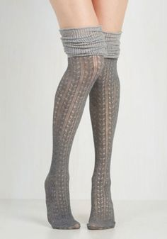 68b771fecda Boho Put Your Strut In Me Thigh Highs in Stone by ModCloth Thigh High Socks