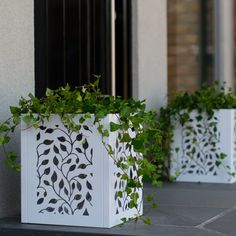 Take your decorating style outdoors with laser cut planters Laser Cut Lamps, Laser Cut Panels, Indoor Planters, Flower Planters, Grill Gate Design, Creepers Plants, Cnc Cutting Design, Metal Planter Boxes, Backyard Fireplace