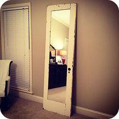 old door into full length mirror