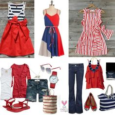 Fourth of July outfits. I NEED that red tshirt and blue necklace!
