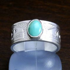Indian jewellery Canada Aboriginal native Silver 925 Accessories CREE Cree JUSTIN turquoise + ring ring KILLER WHALE Orca No.12