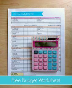 Download your free printable budget worksheet. #budget #printable