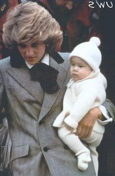 Diana with an adorable bundled up Prince Harry 1985