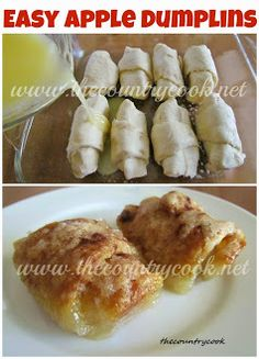 Easy apple dumplings - Sprite - Ideas of Sprite - Easy Apple Dumplins (made with fresh apples and crescent rolls! Köstliche Desserts, Delicious Desserts, Dessert Recipes, Yummy Food, Tasty, Apple Desserts, Pudding Desserts, Dessert Bars, Yummy Recipes