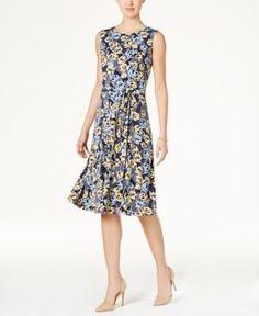 Charter Club Print Tie-Waist Dress, Only at Macy's - Blue XXL