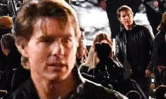 Tom Cruise is an action man in black leather jacket as he films M:I 5