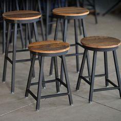 Custom Made Reclaimed Barnboard & Custom Raw Steel Bar Stools
