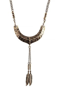 Dimpled Crescent Feather Charm Necklace - Sassy Posh