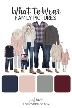 What to Wear for Family Pictures - Fall and Winter Color Photo looks Navy, Burgundy, Pink and Gray - What to Wear for Family photos - This post has 5 different fall and winter color schemes for Family Pictures. Ideas for what to wear th