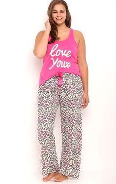 Plus Size Pajama Set with Leopard Print Pants   Fashion ...