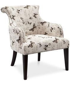 Tinsley Fabric Butterfly Accent Chair, Direct Ship
