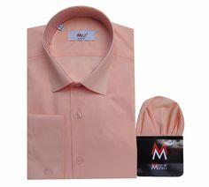 Slim-fit Herrenhemd + Einstecktuch Gr.XXL Apricot