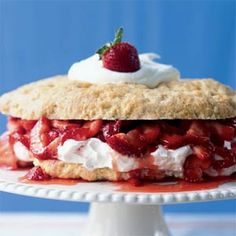 Strawberry Shortcake!!  Due to its lower fat content, this shortcake can overcook and crumble quickly, so watch it carefully in the oven--don't allow it to brown.