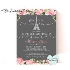 Paris Bridal Shower Invitation // Blush Pink Floral // Love is in the Air // Paris Shower Invite // Bridal Shower // Printable No.977