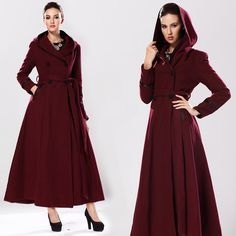 Black wool coat,long trench coat, womens coats, Dress coat, swing ...