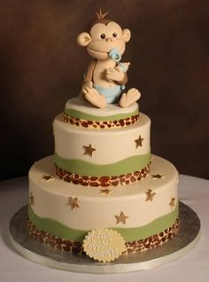 Baby shower monkey cake.