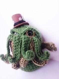 STEAMPUNK CTHULHU AMIGURUMI 4'' 1/2 crochet horror by Kutuleras www.steampunktendencies.com