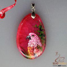 HAND PAINTED PARROT BIRD RED VEINED CHALCEDONY GEMSTONE PENDANT ZL8016648 #ZL #PENDANT