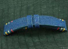 Stingray polished leather skin watch strap handmade by VNHANDCRAFT