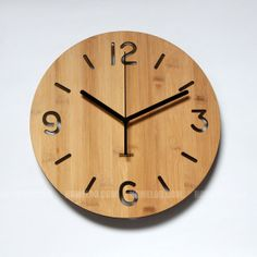 Bamboo Unique Wall Clock Simple Numeric by HOMELOO on Etsy, $39.99
