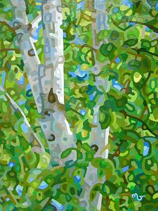 Contemporary abstract landscape painting art by Mandy Budan - Summer Birches Abstract Landscape Painting, Landscape Art, Landscape Paintings, Painting Art, Tree Paintings, Landscapes, Silk Painting, Landscape Photos, Canadian Painters