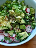 Try This Simple, 3-Step Salad For Lunch Tomorrow #refinery29  http://www.refinery29.com/joy-the-baker/8#slide-1  Avocado and Edamame Salad  Serves 4 large or 6 small servings   1 16-ounce bag frozen shelled edamame, thawed  1 clove garlic, minced  1 teaspoon grated fresh ginger  2 teaspoons honey  Scant 1/4 cup seasoned rice wine vinegar  3 tablespoons olive oil  Juice of 1 lime  Pinch of salt and fresh cracked pepper  1/2 cup sliced green onio...