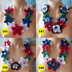 Handmade Fabric Flower Statement Necklace Bib Christmas edition