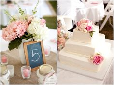 love the table setting... burlap squares?      Pink & White Southern Shabby Chic Wedding from Style by Design