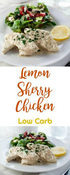 This Lemon Sherry Chicken Recipe is really easy to prepare. Any meal that only dirties one pan and can be on the table in 30 minutes is a winner! Low Carb Chicken Recipes, Low Carb Recipes, Keto Chicken, Healthy Recipes, Fun Easy Recipes, Gluten Free Recipes, Real Food Recipes, Easy Family Meals, Easy Dinners