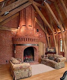 Monumental Brick Fireplace By Designer & Mason, Clay Chapman. Not too keen on the sofas. Love the brick!