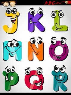 Cute letters alphabet cartoon vector image on VectorStock Alphabet Letters Design, Handwriting Alphabet, Cute Alphabet, Cute Letters, Letters For Kids, Alphabet Art, Alphabet Activities, Lettering Tutorial, Lettering Design
