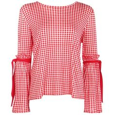 Boohoo Kitty Gingham Tie Sleeve Top ($7) ❤ liked on Polyvore featuring tops, blouses, shirts, off shoulder tops, flat top, off the shoulder shirts, red top and red shirt