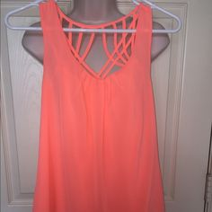 Coral strappy blouse E&M coral strappy flowy chiffon blouse. Never worn, excellent condition! Tops Blouses