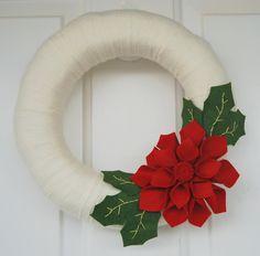 """Christmas Wreath - Felt Flower Wreath - Red Poinsettia - 12"""" Size - Ready to Ship. $42.95, via Etsy."""