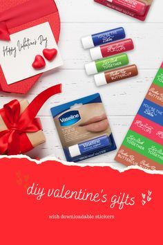Valentines Day Treats, Valentine Day Gifts, Diy Valentine, Vaseline Original, Vaseline Lip, Valentine's Day Diy, Printable Stickers, Little Gifts, Homemade Cards