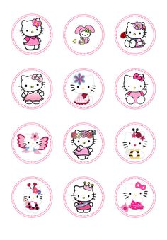 DIY INSTANT DOWNLOAD Hello Kitty Birthday Toppers