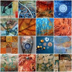 CAROLYN SAXBY MIXED MEDIA TEXTILE ART: Copper and St. Ives Blue
