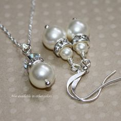Ivory Pearl Necklace and Earring Set, Bridesmaid Jewelry Set, Bridesmaid Gift (Also Available in Sterling Silver)