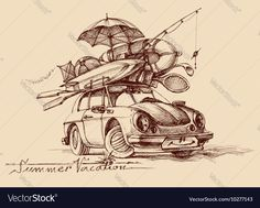 Family holiday conceptual Retro car full with vacation items ready to hit the road travel. Download a Free Preview or High Quality Adobe Illustrator Ai, EPS, PDF and High Resolution JPEG versions.