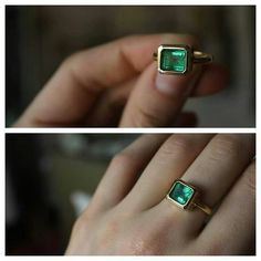 Custom emerald ring in 14kt gold by ATELIER Gaby Marcos